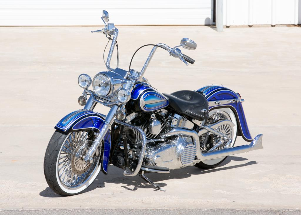 Custom Harleys Baggers For Sale >> Covington's Blue Heritage Custom Harley Motorcycle