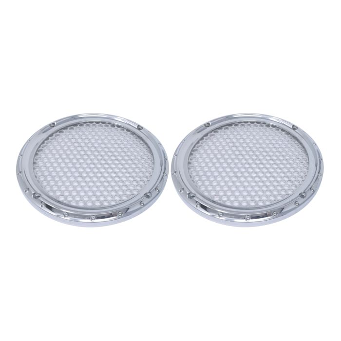 Speaker Grills, 6.5 Inch, Dimpled, Chrome, Pair