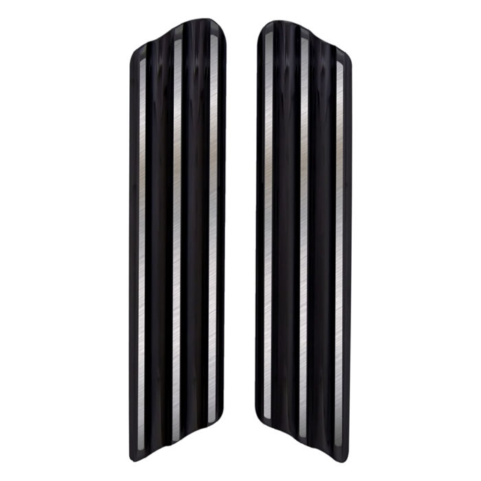 Bag Latch Delete Plates, 09, Finned, Black, Pair