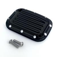 MASTER CYLINDER LID, 08-13, CLUTCH, DIMPLED, BLACK