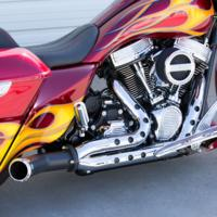 EXHAUST, DESTROYER, HOLESHOT, 17, BAGGER, BLACK W/CHROME SHIELDS, CHROME BILLET TIP